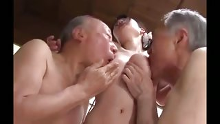 Cute girl with big tits to comfort the three old man