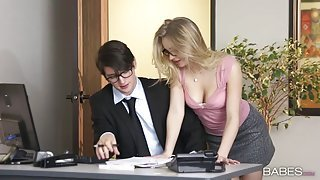 Horny boss annihilates his horny blonde secretary in the office